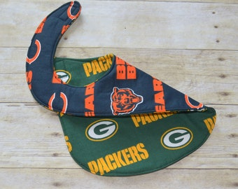 Reversible Chicago Bears and Green Bay Packers Baby Bib for the baby with Both Fans in the Family