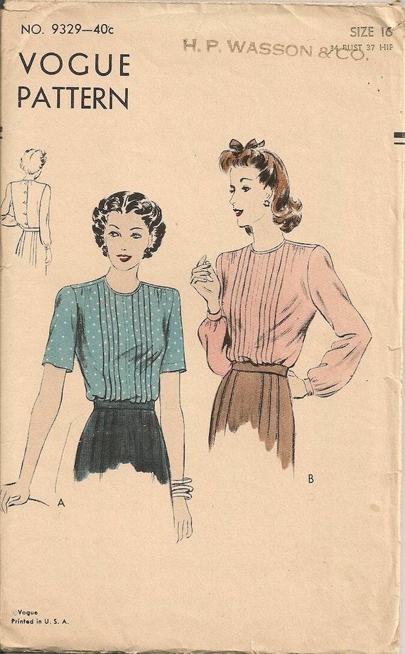 Vintage 1940's Blouse Pattern Vogue 9329