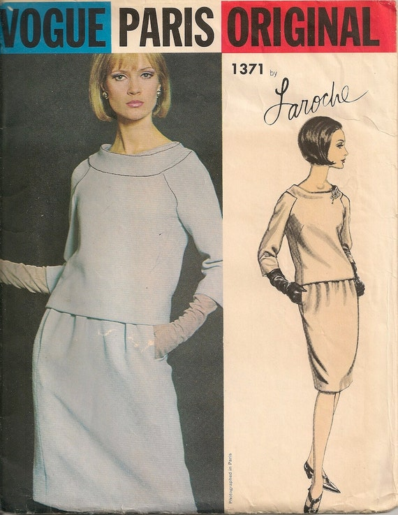 Vintage 1960's Dress Pattern Vogue Paris Original 1371 Laroche