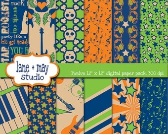 digital papers - blue, green and orange party like a rockstar patterns - INSTANT DOWNLOAD