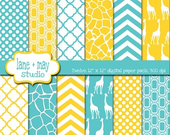 digital scrapbook papers - yellow and turquoise giraffe patterns - INSTANT DOWNLOAD