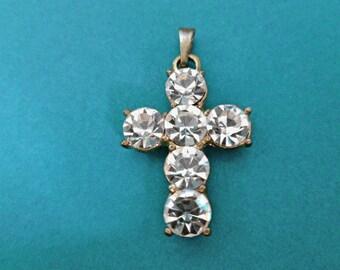 Faux Diamonds Focal Cross Pendant Large Rhinestones Twotone Cross