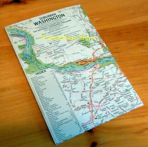1964 Map of Washington D.C. DC Suburban & Tourist by National Geographic Vintage