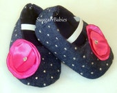 Denim and Pink  Baby Shoes  Baby Mary Janes  Newborn Shoes  Crib Shoes