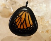 Butterfly Slide, Monarch Butterfly Pendant, Real Butterfly Wing Necklace, Monarch Pendant, OOAK Natural High Fashion Necklace
