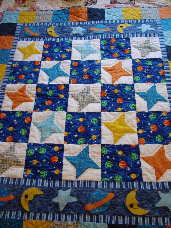 Outer space baby boy quilt by danastiegemeier on etsy for Outer space quilt