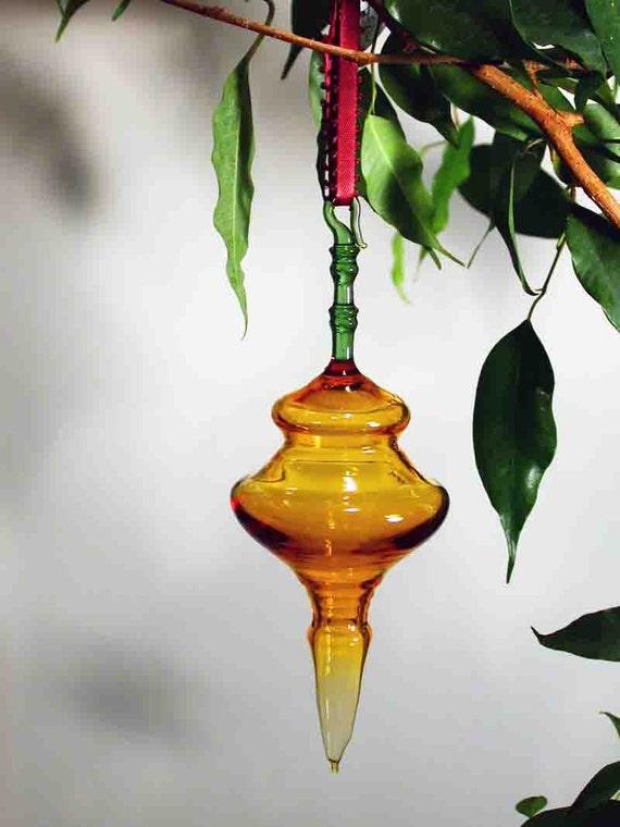 Handmade Amber Glass Ornament