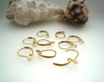 Raw Brass Unplated Leverback Earwires - 24 pcs - DS225