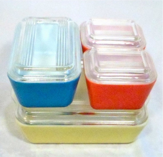Pyrex Refrigerator Dishes Complete Set of Primary Colors