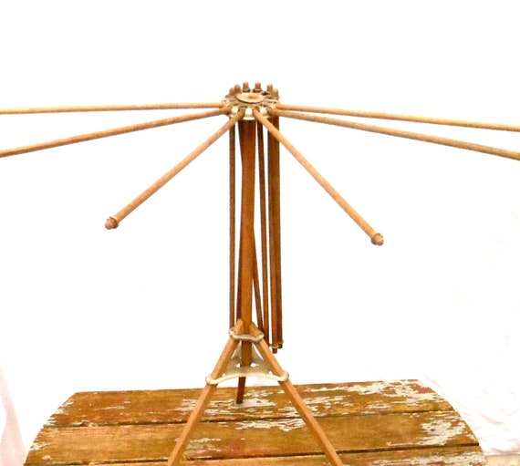 Vintage Drying Rack Display Rack Made of Wood and Metal Circa 1930s in Great Condition.