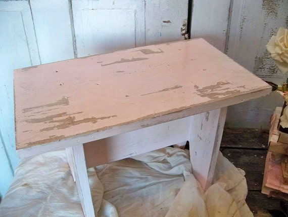Pale pink hand made shabby chic bench farmhouse wooden step stool home decor Anita Spero