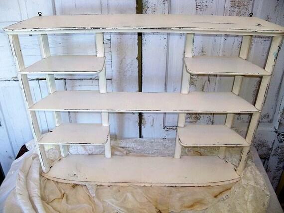 "Large vintage shelf 36"" x 27"" white distressed wall/ table cottage display decor Anita Spero"