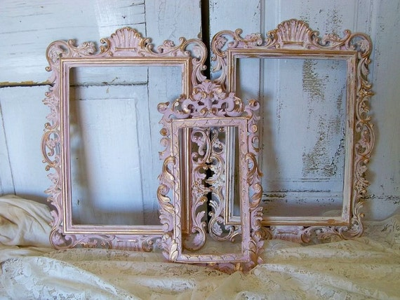 Vintage pink ornate frame grouping distressed painted shabby chic home wall decor  Anita Spero