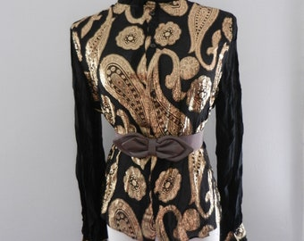 1970s black and gold sheer brocade blouse