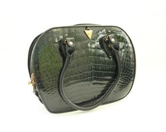 Vintage  dark blue leather purse, 1960s, 1970s Italian croco style leather handbag signed Cerchio