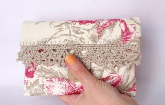 Pink Floral Bag Retro cosmetic pouch French toile country chic