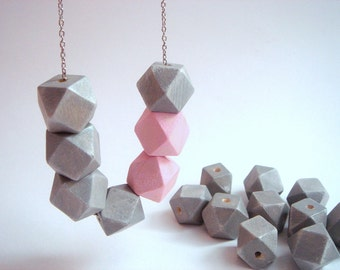 Pastel Geometric Wood Beads,Hand Painted wood Beads,  Geometric Jewelry,Do it Yourself Geometric necklace