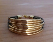 Metallic Olivine (Tota) Leather Cuff Bracelet with Gold Plated Tubes