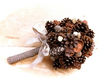 Bridal Bouquet With Pine Cones For Fall Country Wedding