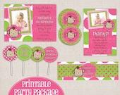 Girl's Custom Pink & Green Mod Monkey Polka Dots Printable Birthday Party Package