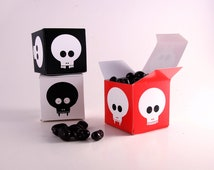 Skulls Printable Favors, Halloween, Walking Dead, Trick or Treat Candy Boxes - Red, White and Black, Vampire, Spooky, Skull and Cross bones