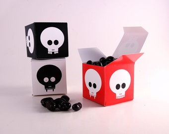 Skulls Printable Favors, Zombie Favor Box, Halloween Skulls Decor, Walking Dead Decor, Skull Favor Box, Pirate Party Favors, Vampire Skulls