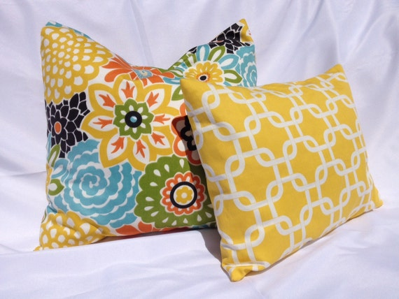 Bright Floral and Yellow Pillow Set