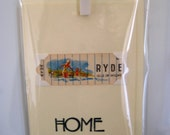 Home (moving/celebrating) greeting card. RYDE, Isle of Wight. Genuine 1930's playing card mounted. Blank inside.
