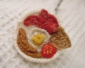 Micro Crocheted Wearable Fiber Art Hairpin 'The Cure' A Tiny Crocheted Luscious Miniature Full English Cooked Breakfast To Wear In Your Hair