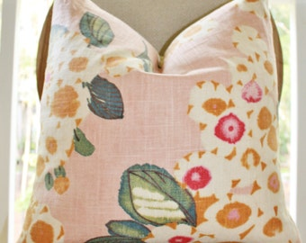 MOTIF PILLOWS -  Floral Pink Fuchsia Ivory Teal Orange - Blush Pink Pillow Cover