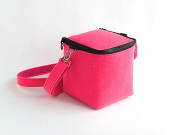 Minimalist Purse  Felted Geometric Cross Body Bag Cube Bag Club Kid Neon Pink Modern Hipster Gift Idea Woman Accessories Unisex Gift Ideas