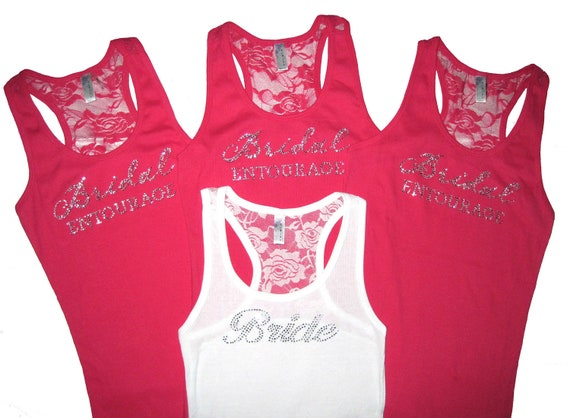 4 Bridesmaid Tank Top Shirts. Bride Tank Top. Lace Tank Tops. Wedding Clothes. Tank Tops for Wedding. Bridal Apparel.