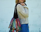 Crossbody Festival Bag. Fabric Fringe & Chenille Handbag Purse.