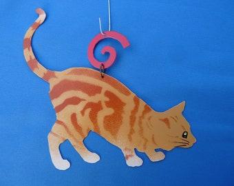 Metal Orange Tiger Cat Ornament