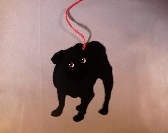 Metal Black Pug Ornament