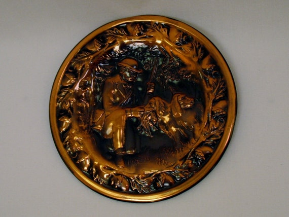 Copper Engraved Plate Hunter with Bird Dogs
