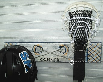 Lacrosse Player Stick Hanger Helmet Rack Wall Organizer Team Colors Personalized Name Handcrafted Handpainted Sports Room Decor