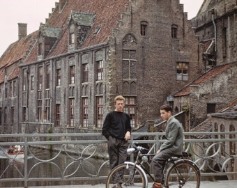 Vintage Belgian Boys and Bike on Bridge over Canal from Original Negative 8x12, 1952