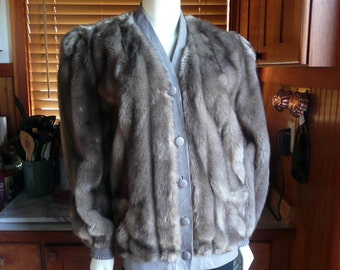 Vintage 60s 70s Mod Adolph Schuman for Lilli Ann Faux Mink Fur Puffy Bomber Jacket Coat S M