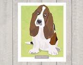 Basset Hound Art Print - Dog Art - 8x10