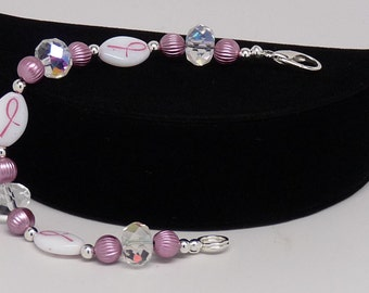 """BREAST CANCER AWARENESS Bracelet:  8"""" Pink with Pink Ribbon Beads"""