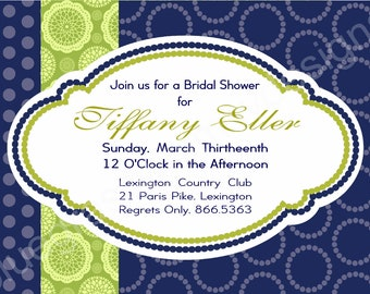 Preppy Bridal Luncheon Invitation- lime and navy