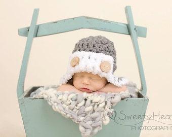 Newborn Photo Prop//Newborn Boy Hat//Newborn Aviator Hat//Crochet Hat//Baby Shower Gift//Newborn Crocheted Hat//Newborn Boy Hat