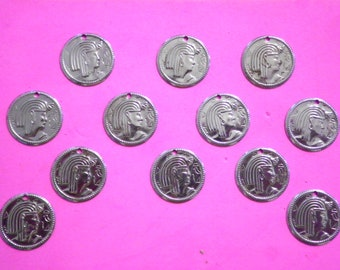 12 Vintage Silverplated 19mm Egyptian Coin Charms