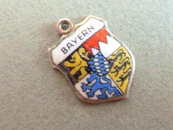 Souvenir Travel Shield Charm Silver and enamel Bayern
