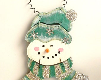 NOW 50% OFF!! Hand Painted Wood Snowman Large Ornament in Teal