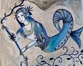 """Mermaid Woman Water Ocean Original Drawing Watercolor Painting and Ink, Grey Blue Silver, mermaid, """"Sirène"""""""