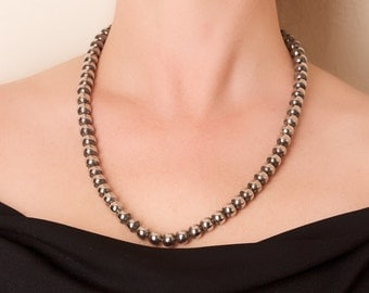Silver Bead Necklace on Metal Chain