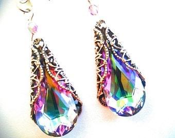 Purple Pink Earrings, Vitrail Light Earrings, Crystal Earrings, Bridal Earrings, Antiqued Silver, Swarovksi Earrings Victorian Filigree VL33