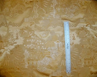 BRUNSCHWIG & FILS CHINOISERIE Peking Silk Satin Damask Fabric 10 yards Gold